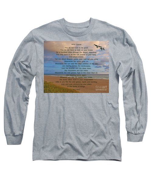 40- Wild Geese Mary Oliver Long Sleeve T-Shirt by Joseph Keane