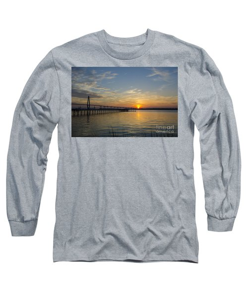 Arthur Ravenel Bridge Tranquil Sunset Long Sleeve T-Shirt by Dale Powell
