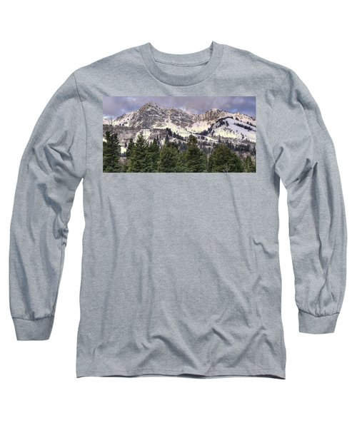 A Beautiful View Of Mount Ogden From Snowbasin 2/1 Pano Long Sleeve T-Shirt