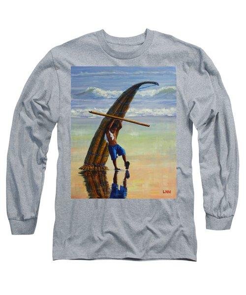 A Boy And His Caballito De Totora, Peru Impression Long Sleeve T-Shirt