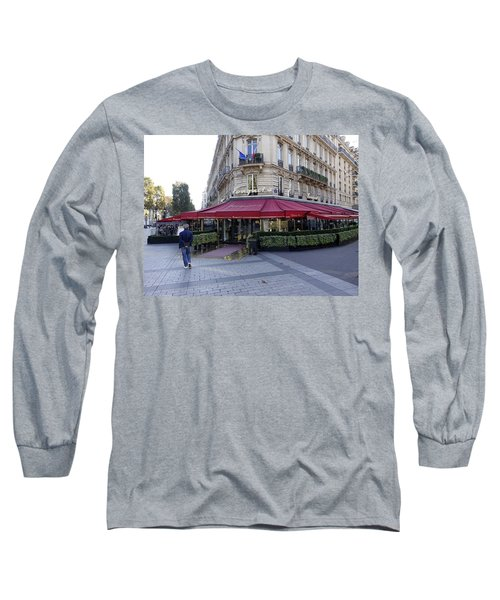 A Cafe On The Champs Elysees In Paris France Long Sleeve T-Shirt