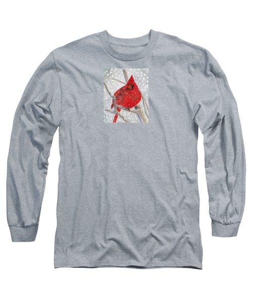 A Cardinal Winter Long Sleeve T-Shirt by Angela Davies