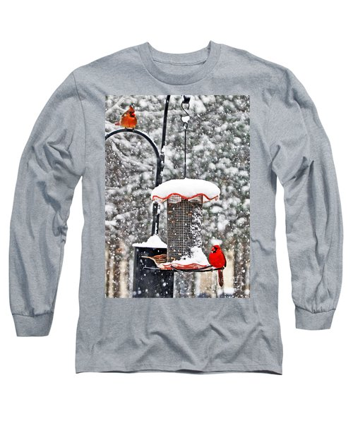 A Cardinal Winter Long Sleeve T-Shirt by Lydia Holly