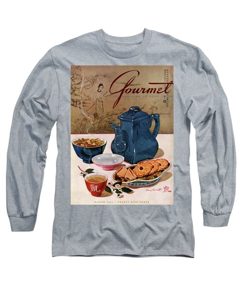 A Chinese Tea Pot With Tea And Cookies Long Sleeve T-Shirt
