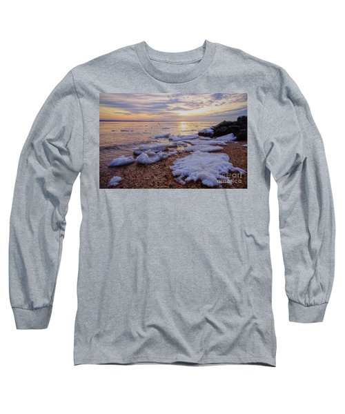 Long Sleeve T-Shirt featuring the photograph A Cold Sandy Hook Winter by Debra Fedchin