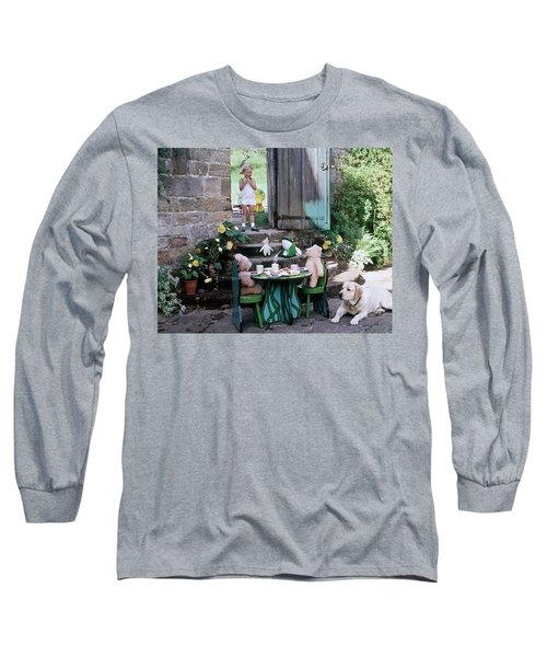 A Dog Sitting Next To Two Teddy Bears Having Long Sleeve T-Shirt