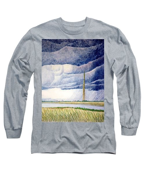 Long Sleeve T-Shirt featuring the painting A Finger To The Sky by A  Robert Malcom