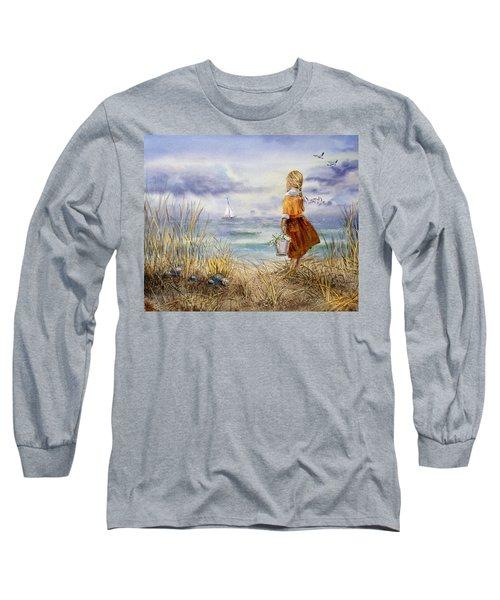 A Girl And The Ocean Long Sleeve T-Shirt