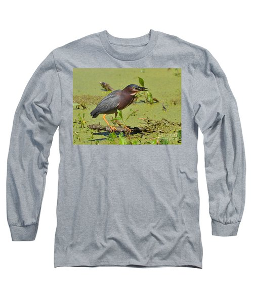 Long Sleeve T-Shirt featuring the photograph A Greenbacked Heron's Breakfast by Kathy Baccari