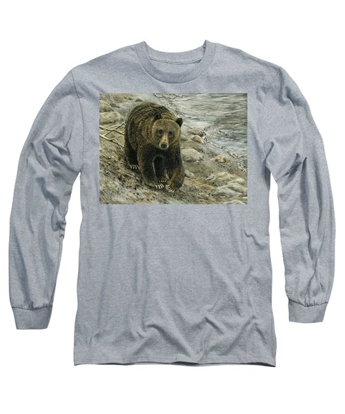 A Grey And Grizzly Day Long Sleeve T-Shirt by Sandra LaFaut