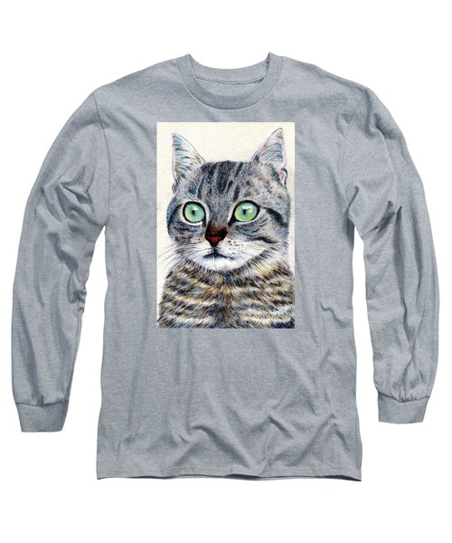 Long Sleeve T-Shirt featuring the painting A Grey Tabby by Jingfen Hwu