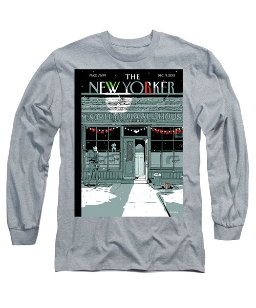 A Holiday Scene Outside The Bar Mcsorley's Long Sleeve T-Shirt