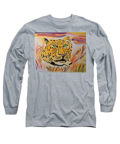 A Leopard's Gaze Long Sleeve T-Shirt by Meryl Goudey