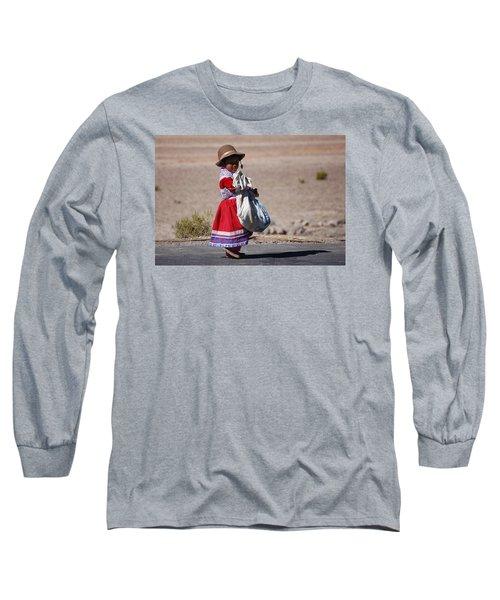 A Little Girl In The  High Plain Long Sleeve T-Shirt by RicardMN Photography