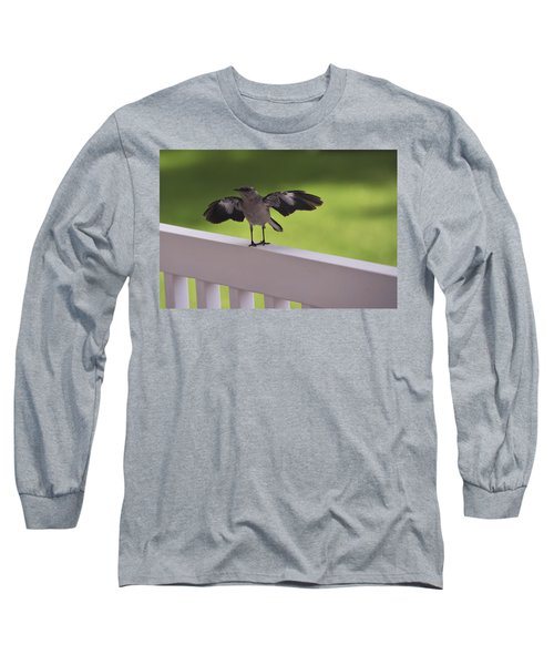 A Little Visitor Northern Mockingbird Long Sleeve T-Shirt by Terry DeLuco