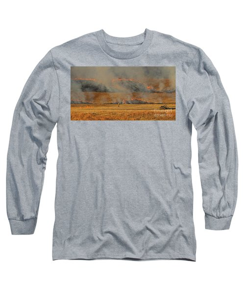 Long Sleeve T-Shirt featuring the photograph A Lone Firefighter On The Norbeck Prescribed Fire. by Bill Gabbert