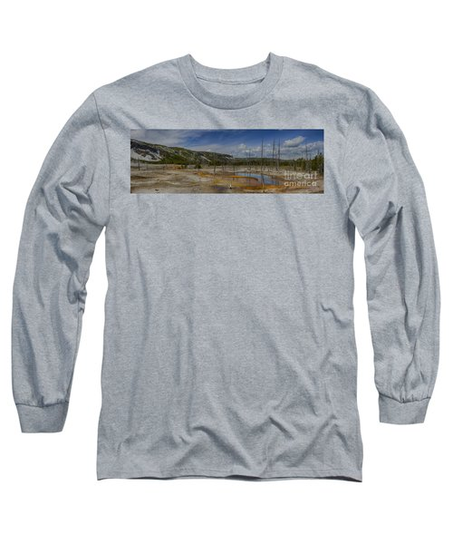 A Panoramic View Of  A Yellowstone Geyser Basin Long Sleeve T-Shirt