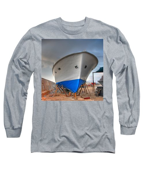 Long Sleeve T-Shirt featuring the photograph a resting boat in Jaffa port by Ron Shoshani