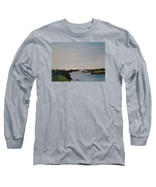 Long Sleeve T-Shirt featuring the painting A River Shoreline by Marilyn  McNish