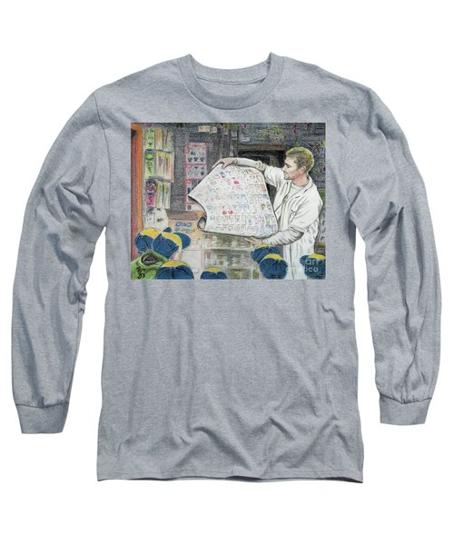Long Sleeve T-Shirt featuring the drawing A Roll Of Baseball Cards by Yoshiko Mishina