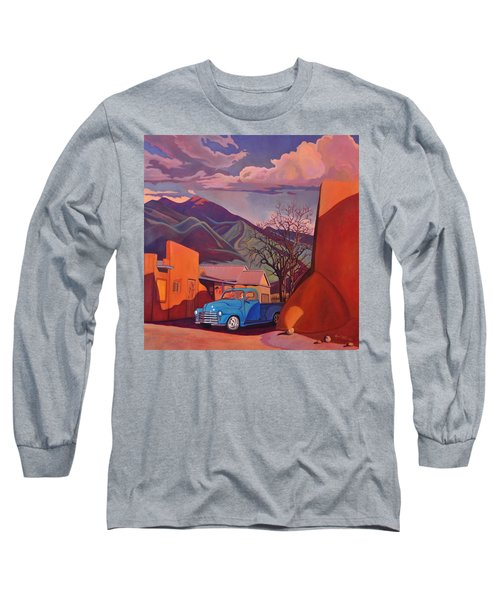 A Teal Truck In Taos Long Sleeve T-Shirt by Art James West