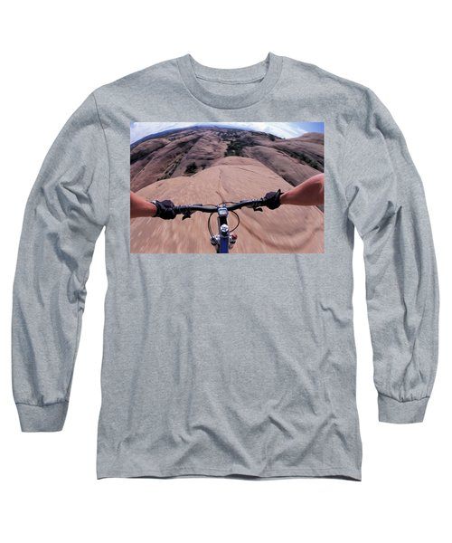 A View Of A Female Mountain Bikers Long Sleeve T-Shirt