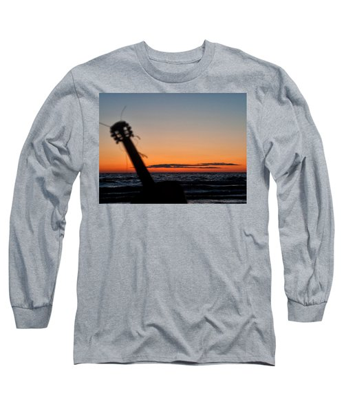 Acoustic Guitar On The Beach Long Sleeve T-Shirt by Mike Santis
