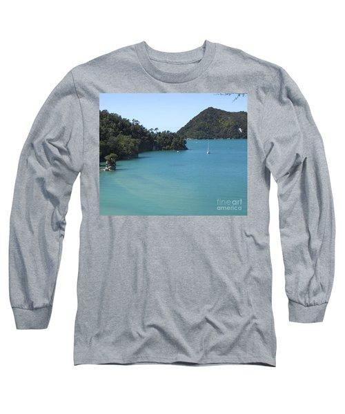 Abel Tasman Bay With Sail Boat Long Sleeve T-Shirt