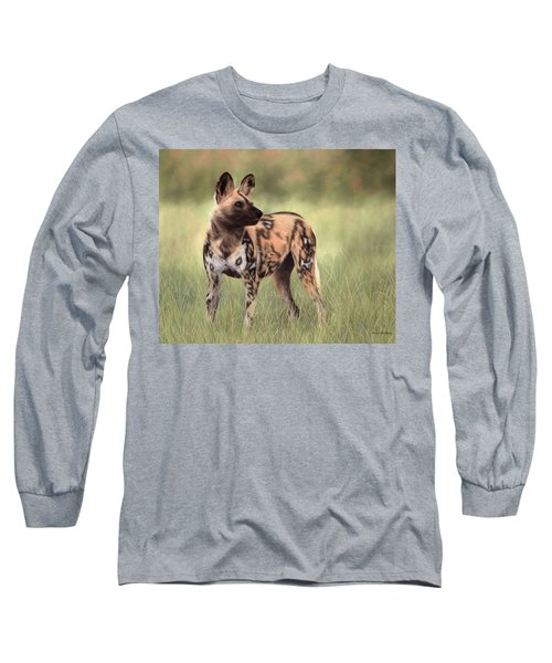 African Wild Dog Painting Long Sleeve T-Shirt