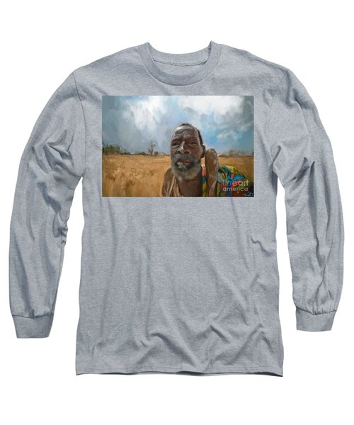 Long Sleeve T-Shirt featuring the mixed media Afrikan Bushman by Vannetta Ferguson