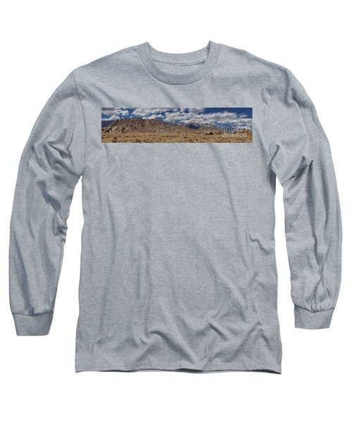 Alabama Hills And Eastern Sierra Nevada Mountains Long Sleeve T-Shirt by Peggy Hughes