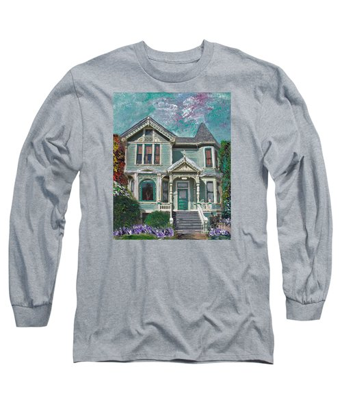 Long Sleeve T-Shirt featuring the mixed media Alameda 1897 - Queen Anne by Linda Weinstock