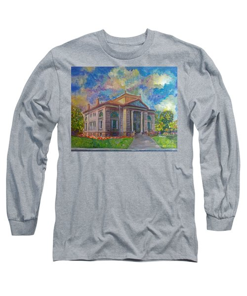 Long Sleeve T-Shirt featuring the mixed media Alameda Carnegie Library 1899 by Linda Weinstock