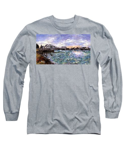 Long Sleeve T-Shirt featuring the painting Alameda High Street Bridge  by Linda Weinstock