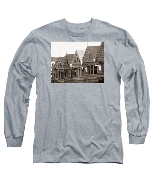 Long Sleeve T-Shirt featuring the photograph Alamo Square - Victorian Painted Ladies 2009 by Connie Fox