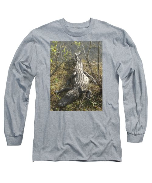 Long Sleeve T-Shirt featuring the photograph Alligator by Robert Nickologianis