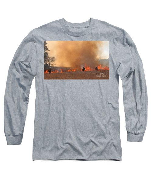Long Sleeve T-Shirt featuring the photograph Alpine Hotshots Ignite The Norbeck Prescribed Fire. by Bill Gabbert