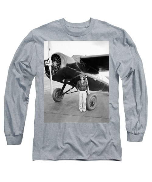 Amelia Earhart And Her Plane Long Sleeve T-Shirt