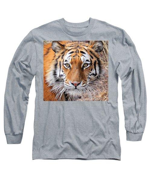 Amur Tiger Portrait Long Sleeve T-Shirt by Diane Alexander