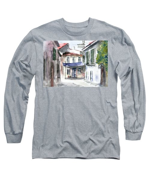 Long Sleeve T-Shirt featuring the painting An Authentic Street In Urla - Izmir by Faruk Koksal