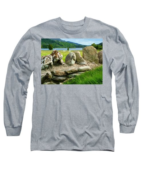 Ancient Stone Wall At Loch Achray Long Sleeve T-Shirt