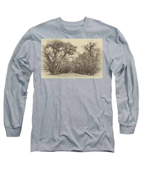 And Time Stood Still Sepia Long Sleeve T-Shirt by Steve Harrington