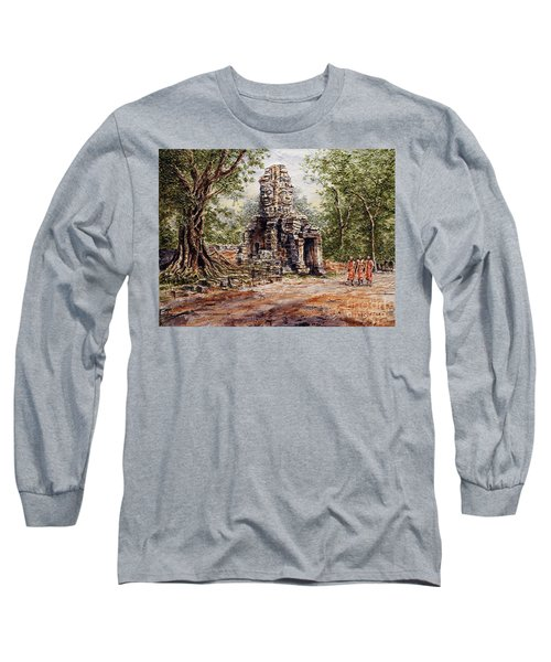 Long Sleeve T-Shirt featuring the painting Angkor Temple Gate by Joey Agbayani