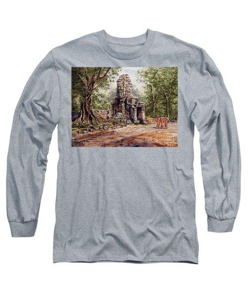 Angkor Temple Gate Long Sleeve T-Shirt by Joey Agbayani