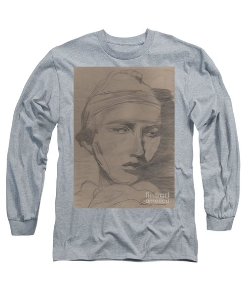 Long Sleeve T-Shirt featuring the drawing Antigone By Jrr by First Star Art