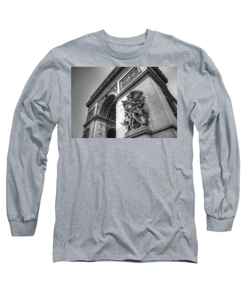 Arc De Triomphe In Black And White Long Sleeve T-Shirt