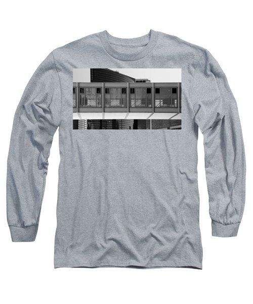 Architectural Pattern Glass Bridge Black White Long Sleeve T-Shirt