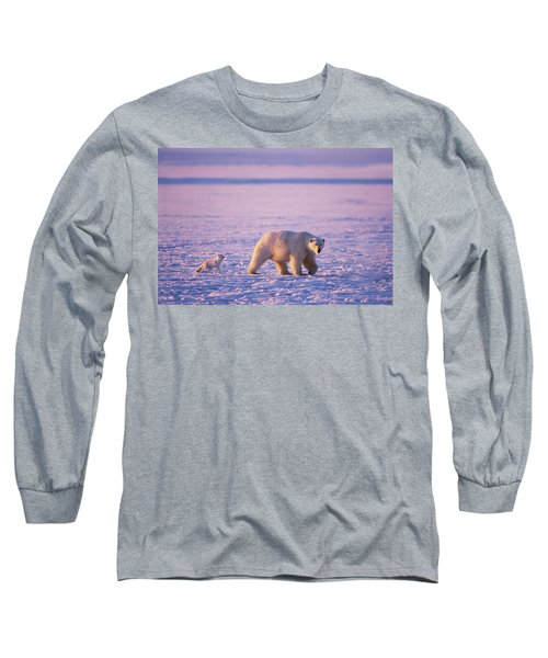 Arctic Fox Follows A Polar Bear Long Sleeve T-Shirt