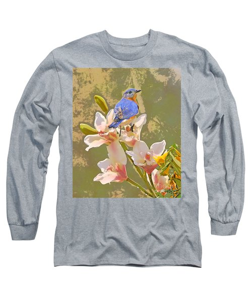 Bluebird On Orchids Artistic Photo Long Sleeve T-Shirt by Luana K Perez