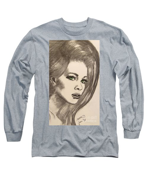 Long Sleeve T-Shirt featuring the drawing Ashton by Marianne NANA Betts
